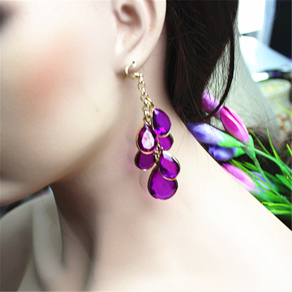 Lovely Purple Droplets Party Earrings