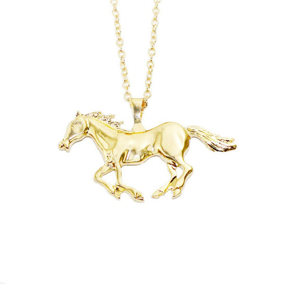 Solid Silver or Gold Plated Running Horse Pendant & Necklace