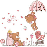 Cute Couple Bears Umbrella Wall Stickers