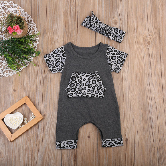 Pepper Short Sleeve Leopard Printed Baby Outfit Set - Gaia Spot