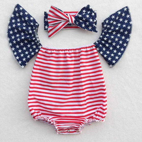 Jessica Patriotic Stripes Romper with Headband - Gaia Spot
