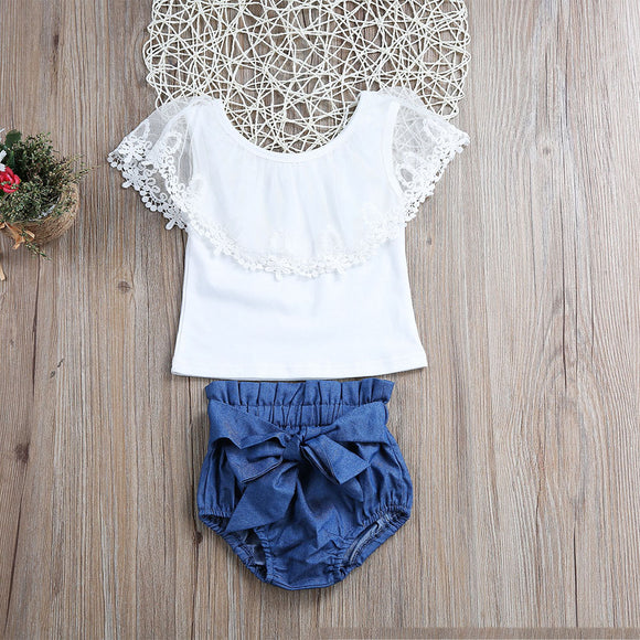 White Lace Off shoulder Top + Denim Shorts For Kids