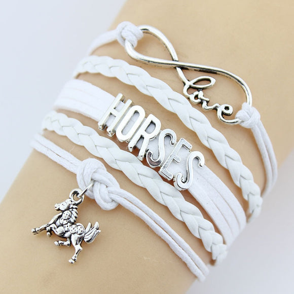 Charming Retro Love Horse Braided Leather & Silver Bracelet - Gaia Spot