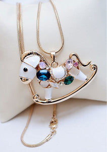 Cute Horse Pendant with Colorful Crystals & Necklace Offer - Gaia Spot