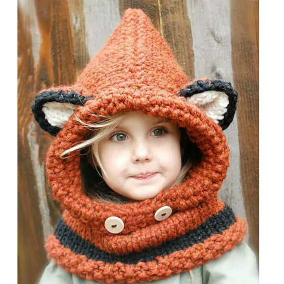 Warm Winter Neck Wrap Fox Scarf & Caps Combo - Gaia Spot