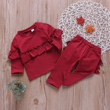 Autumn Baby Girls Ruffle  Sweatshirt And Trousers
