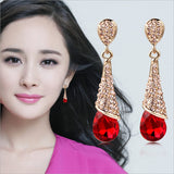 Gilded Rhinestones Crystal Droplet Stud Earrings