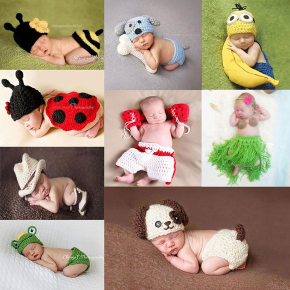 Newborn Animal Pants Knit Hat Set Photography Props