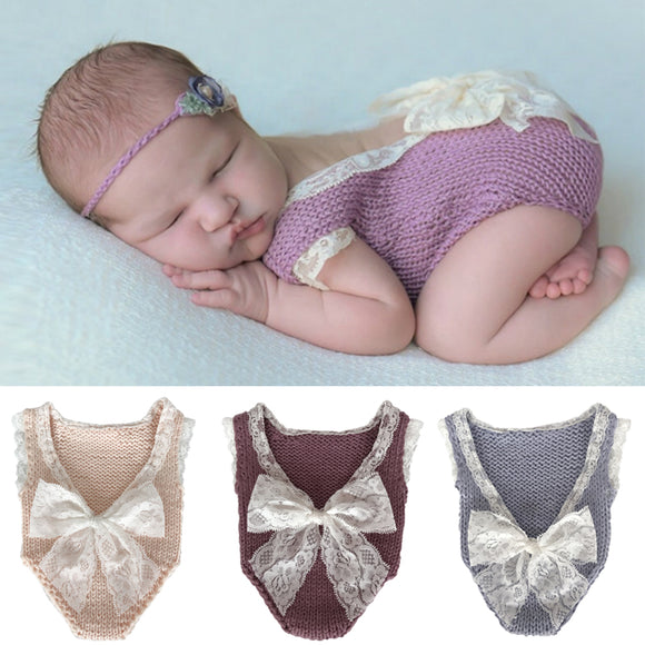 Newborn Knitted Lace Romper With Big Lace Bow Photography Prop