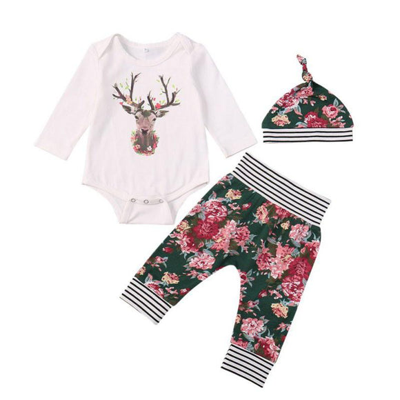 Ayla Deer With Floral Print Clothing Set