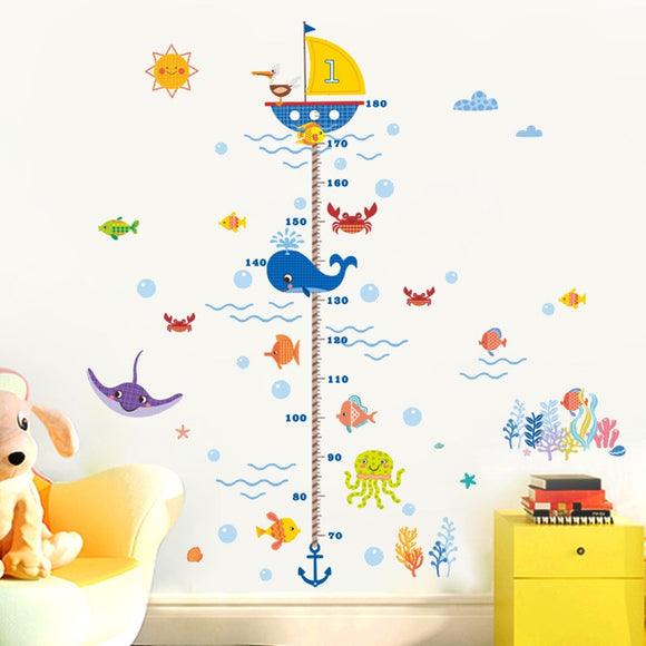 Nursery Height Growth Chart Wall Sticker Kids Boys Girls Underwater Sea Fish Anchor Finding Nemo Decorative Decor Decal Poster