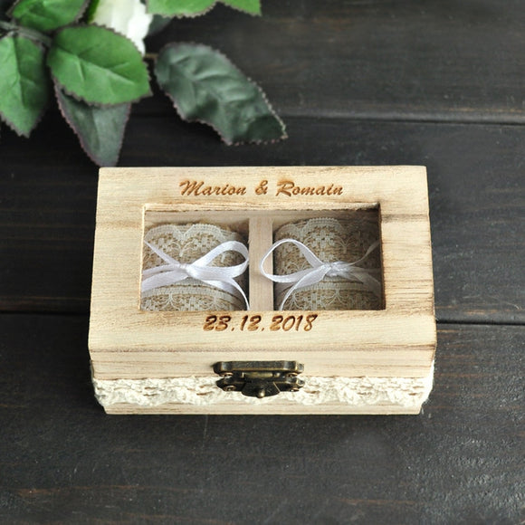 Rustic Wooden Personalized Wedding Ring Box Double Ring