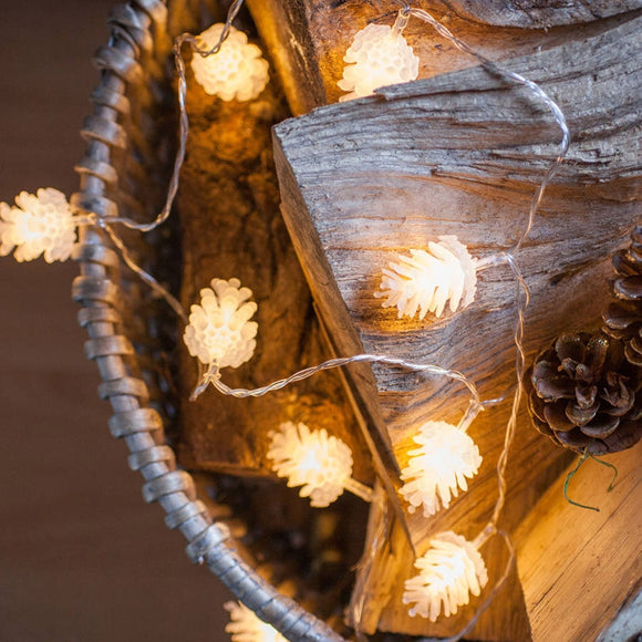 Portable Christmas pine cone battery operated led string light