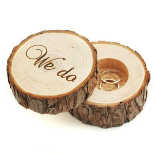 "Printed ""We do"" Wooden Simulation Wedding Ring Holder Box Romantic Valentine's Day Chic Rustic Bearer Storage Boxes - Gaia Spot"