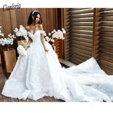 Romantic Flowers Ball Gown Lace Wedding Dress
