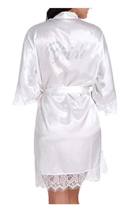 Satin Silk Wedding Bride  Robe