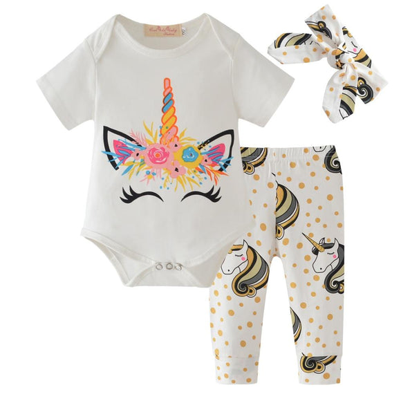 Samantha Unicorn 3 Piece Short Sleeve Bodysuit - Gaia Spot