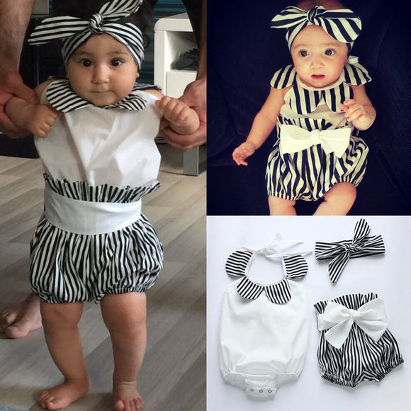 Baby Girl  Striped Romper And Head Band
