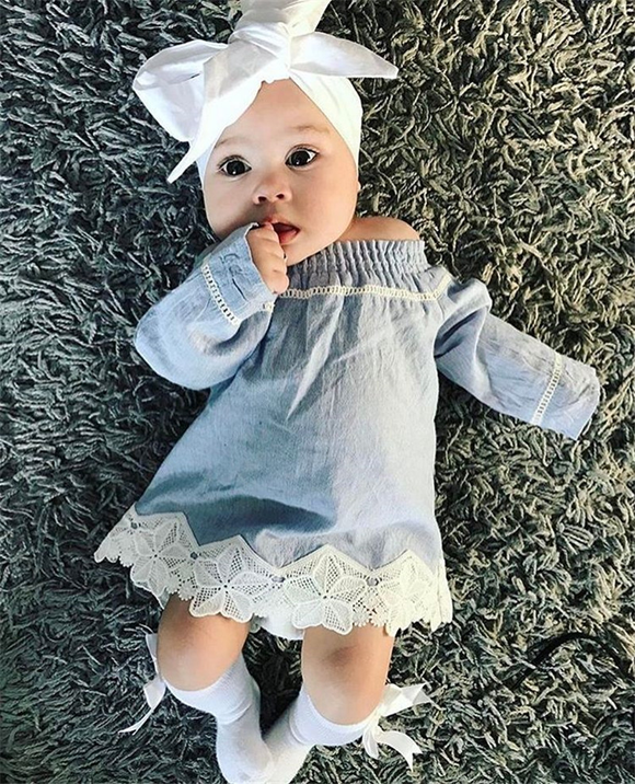 Liora Off-Shoulder Denim Baby Dress - Gaia Spot