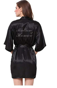 "Wedding Robe ""Matron of Honor"" with Rhinestone Letters - Gaia Spot"
