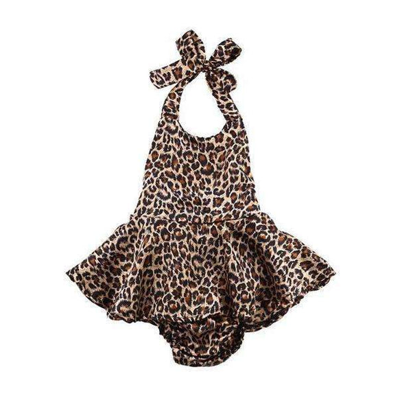 Leopard Print Baby Girls Romper Sunsuit Outfit