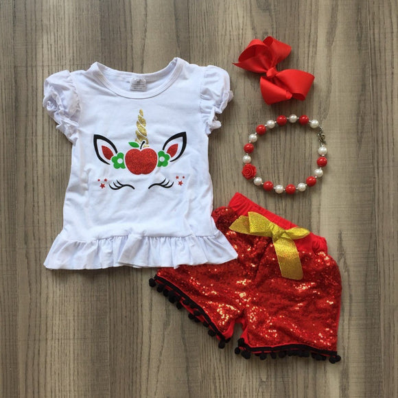 4 pcs Unicorn Baby Girl Summer Outfit