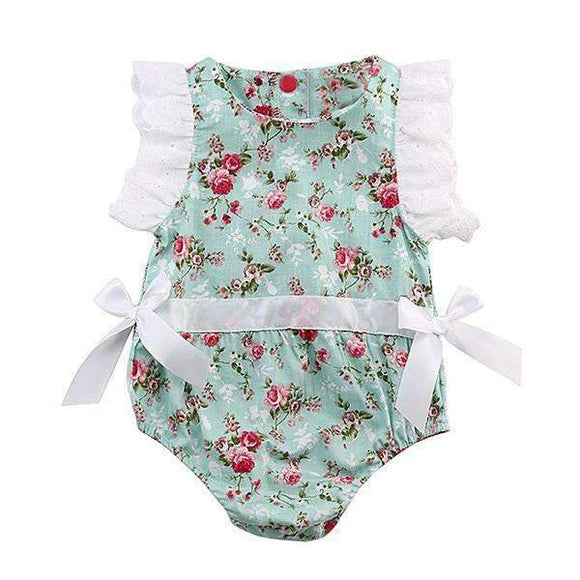 Baby Girl Floral Light Blue Romper Summer Outfit