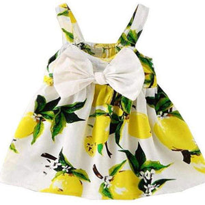 Special Baby Girl Summer Dress with Pink or Yellow Lemon Print