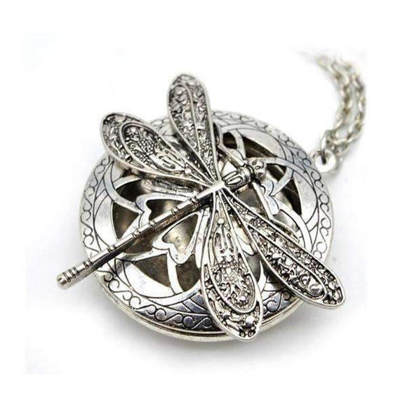 Antique Silver Dragonfly Essential Oil Diffuser Necklace
