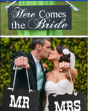 "Rustic Wedding ""Groom & Bride"" Chair Sign"