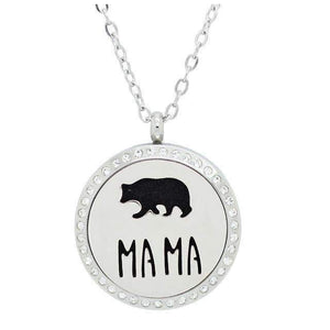 Silver MAMA Bear Aromatherapy Necklace