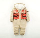 Baby Knitted  Christmas Deer Romper