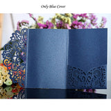 Blue White Elegant Laser Cut Wedding Invitation