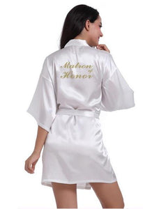 "Wedding Robe ""Matron of Honor"" with Golden Letters - Gaia Spot"