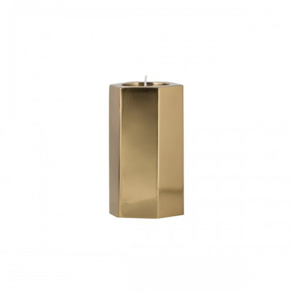 Hexagonal Tealight Holder Brass - Medium
