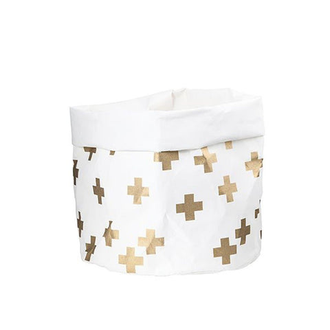 Washable Paper Bag - Gold Cross - Large