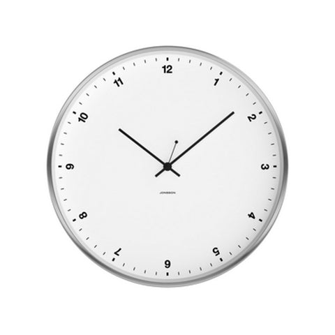 Small Numbers Clock - White / Brushed Steel