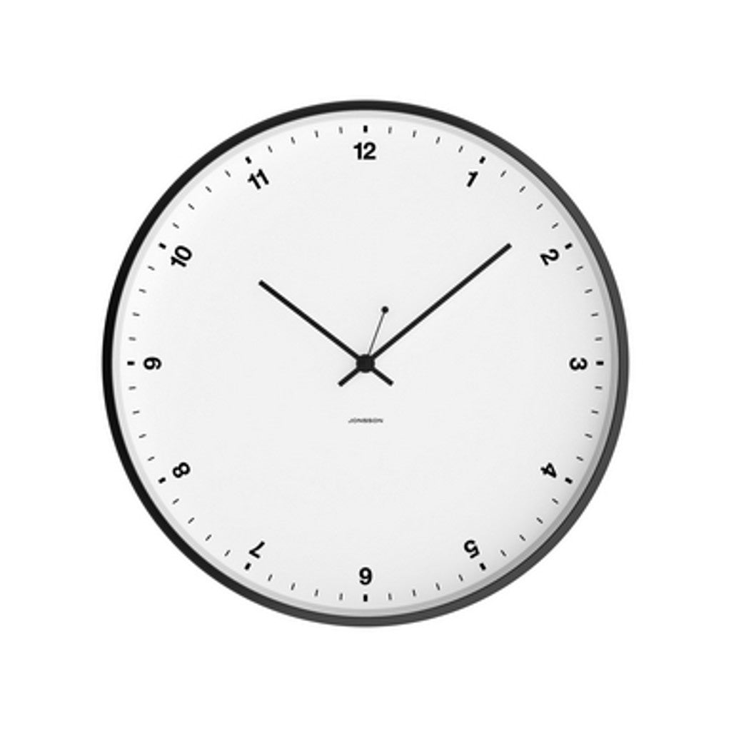 Small Numbers Clock - White / Black Steel