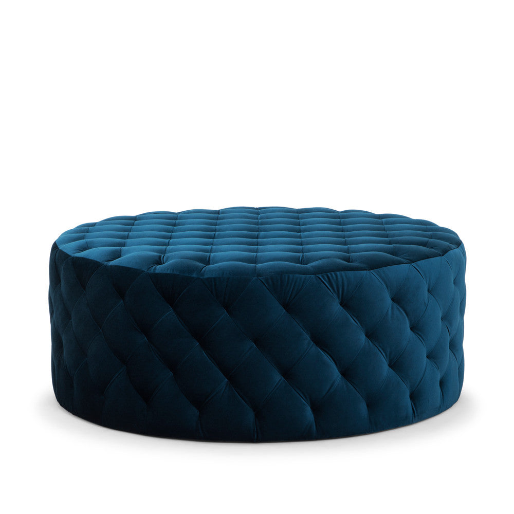 Chester Pin Ottoman in Petrol Blue Velvet - Available on Pre-order