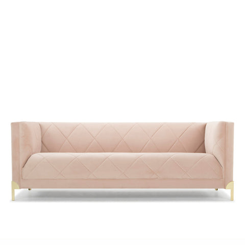 Russo Sofa - Pale Pink Velvet - 3 Seater