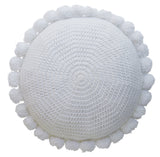 Pom Pom Cushion - White - Available at Pippy Homeware