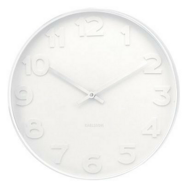 Mr White on White Numbers Clock - Medium