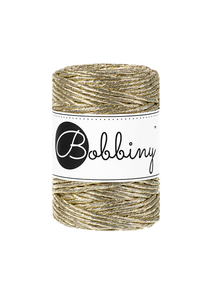 A beautiful addition to your Macrame pieces, this gorgeous metallic gold cord is  single twist  3mm in diameter  50m (54 yards)  contains 24 fibres  220gms  81%cotton/19% polyester