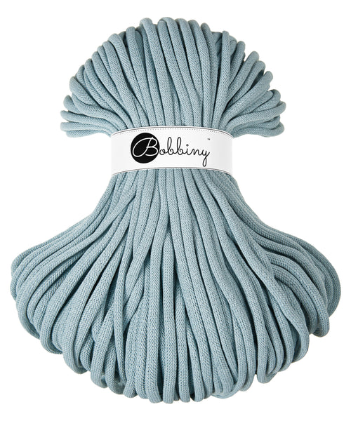 These gorgeous Bobbiny cords are made in Poland from 100% recycled cottons and are non toxic and certified safe for children.  9mm Diameter  Length 100m  Recommended for use with 14-16mm crochet hooks or knitting needles.  Perfect for use with Macrame, Crochet or Knitting.