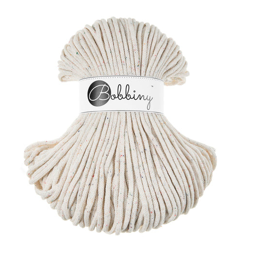 These beautiful Bobbiny cords are made in Poland from 100% recycled cottons and are non-toxic, certified safe for children and meet certified worldwide textile standards.  5mm Diameter  100 metres Length  Recommended for use with 10-12mm crochet or knitting needles  Cotton inner and outer layers, perfect for use with Macrame, Crochet or Knitting