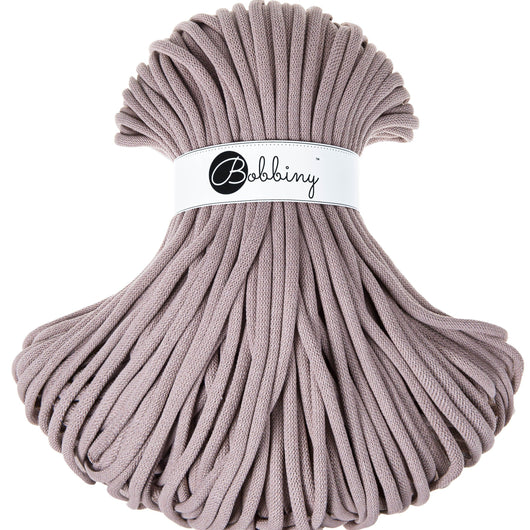 Where can I find Bobbiny Braided Cords Bobbiny Jumbo 9mm - 100m Pearl? These gorgeous Bobbiny Ropes are made in Poland from 100% recycled cottons and are non toxic and certified safe for children.  9mm Diameter  Length 100m  Recommended for use with 14-16mm crochet hooks or knitting needles.  Perfect for use with Macrame, Crochet or Knitting.
