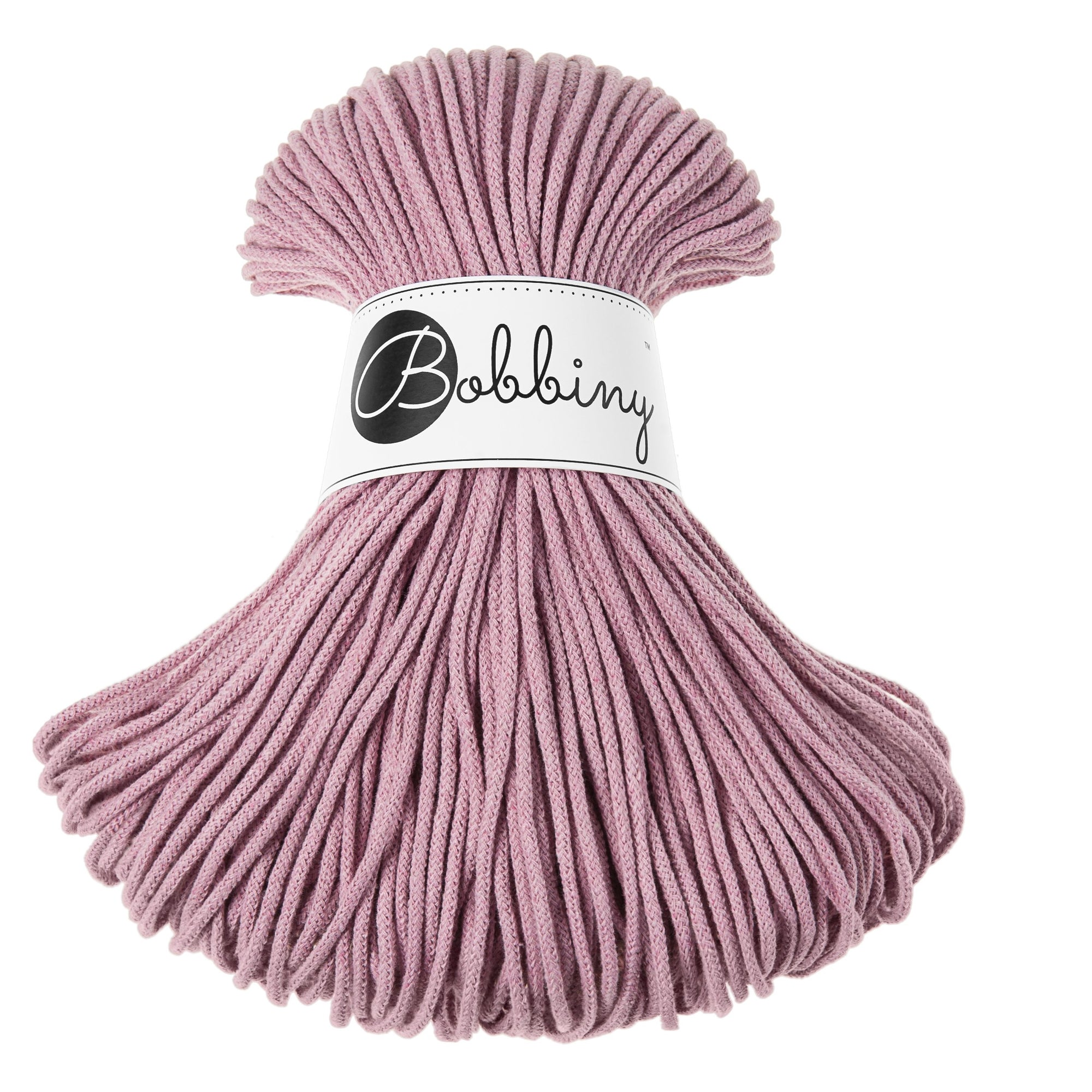 These beautiful Bobbiny cords are made in Poland from 100% recycled cottons and are non-toxic, certified safe for children and meet certified worldwide textile standards.  3mm Diameter  100 metres Length  Recommended for use with 8-10mm crochet or knitting needles.  Cotton inner and outer layers, perfect for use with Macrame, Crochet or Knitting.