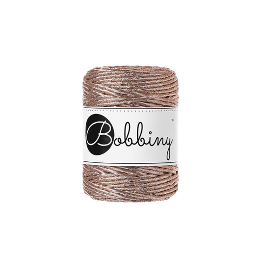 A beautiful addition to your Macrame pieces, this gorgeous metallic cord is  single twist  3mm in diameter  50m (54 yards)  contains 24 fibres  220gms  81%cotton/19% polyester