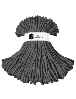 Where can I find Bobbiny  Braided Cords Bobbiny Jumbo 9mm - 100m Charcoal? These gorgeous Bobbiny Ropes are made in Poland from 100% recycled cottons and are non toxic and certified safe for children.  9mm Diameter  Length 100m  Recommended for use with 14-16mm crochet hooks or knitting needles. Perfect for use with Macrame, Crochet or Knitting.