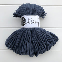 hese beautiful Bobbiny ropes are made in Poland, and are non-toxic and certified safe for children, meeting certified worldwide textile standards.  3mm Diameter  100 metres Length  Recommended for use with 8-10mm crochet or knitting needles  Cotton inner and outer layers, perfect for use with Macrame, Crochet or Knitting